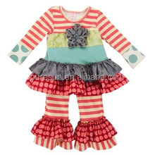 High quality fall winter baby remake ruffle tunic clothes set wholesale children's boutique clothing usa