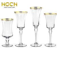All size antique gold rimmed band Ring Optic bulk Classic Footed crystal wine glasses for Wedding Hire or Corporate Event Hire