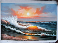 Wholesale Handmade Ocean Waves Oil Paintings Wall Paintings