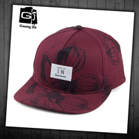 factory manufacture high quality custom floral print red caps with patch logo