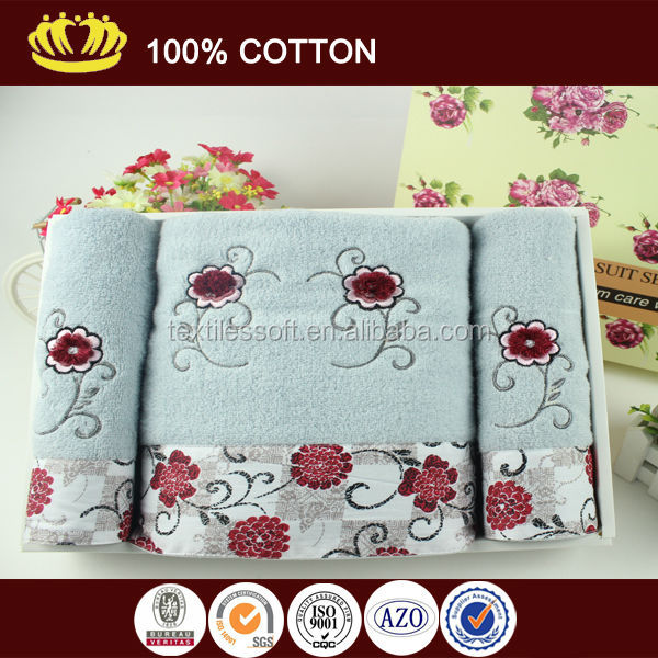 100% cotton high quality terry embroidery lace luxury wedding promotional gift towel