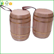 Christmas Gift Wood Coffee Bean Packaging Barrel With Silver Hoop