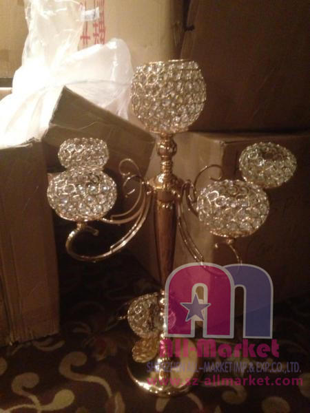 golden floor standing crystal candelabra candle holder AMN1389A