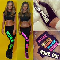 S63106A Work out the letter printed cotton leggings low-rise joker nine minutes women pants