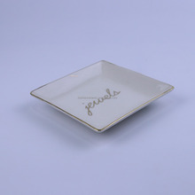 Square dish plate white ceramic plate with custom logo
