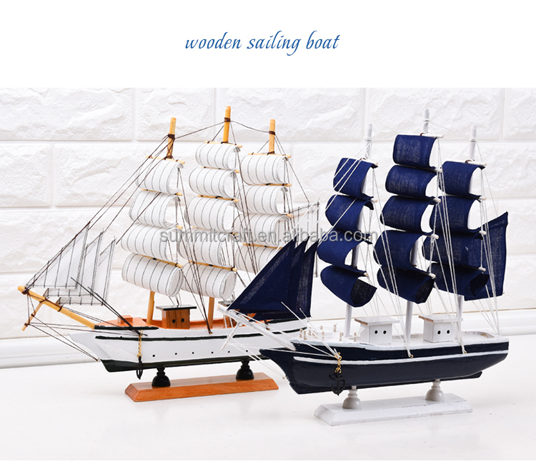 "Pacific Sailer 10"" - Blue Sails - Wood Sailing Boat Model - Sail Boat Decoration - Nautical Themed Nursery Decor - Wooden Model"