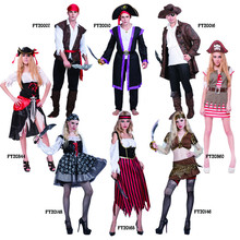 Halloween costumes adult men and women Caribbean pirate cosplay fancy dress suit and outfit party costumes