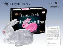 3D Crystal Puzzle.56 pcs Rabbit 3D Crystal Puzzle. Plastic Rabbit toys