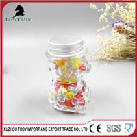 fashion design small lovely bear animal-shaped clear candy glass jar with SGS certificate