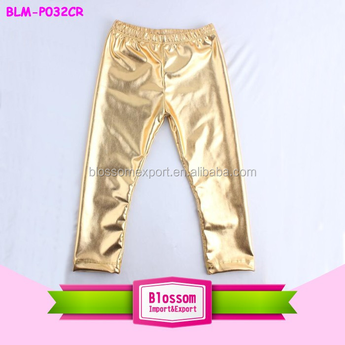 Latest design fashion baby girls and boys solid color pants, new tight shiny pants for kids