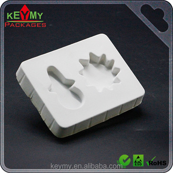 Eco-Friendly thermoforming ps flocking tray for small gifts, blister flocked PS plastic gift tray