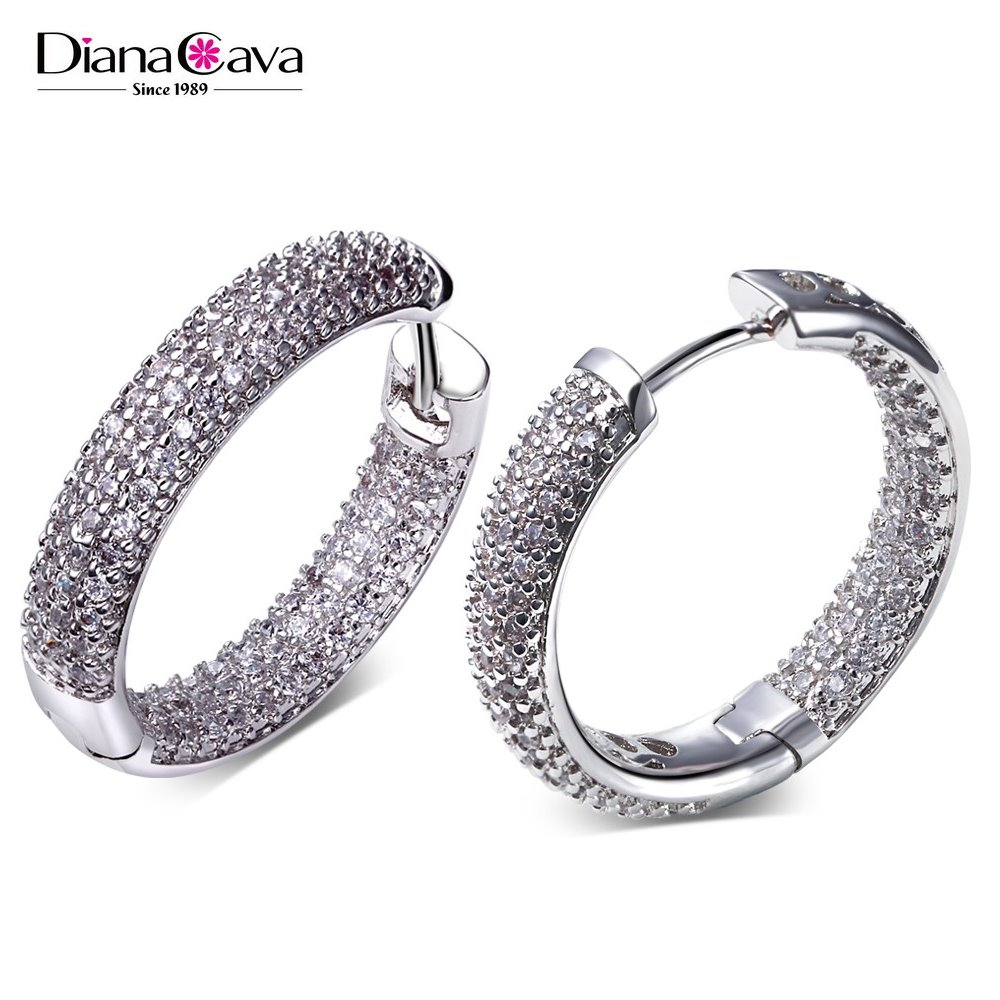 Moderate Size 24 mm Full Zircon Crystal Jewelry in Brass for Small Business Hoop Earrings