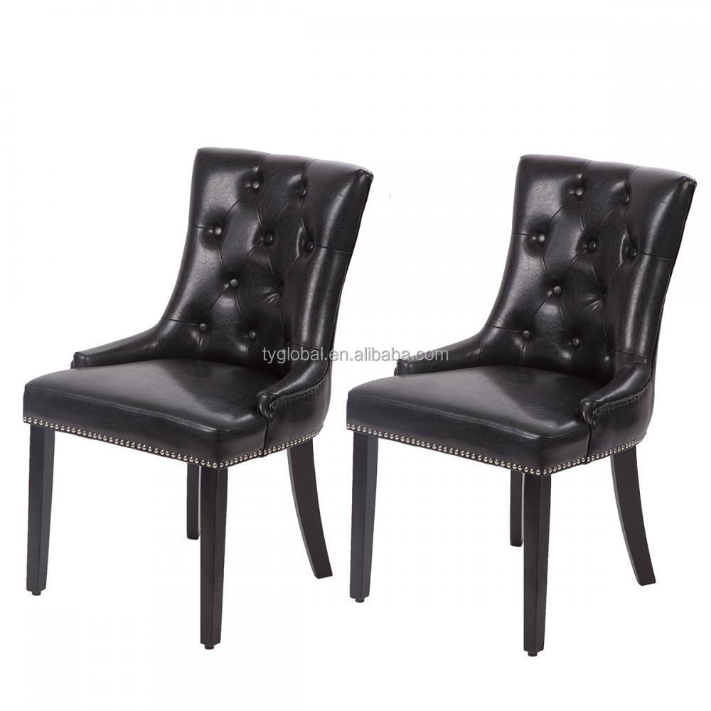 TY-FDC221 New Design Wood Frame PU Leather Button Chair Dining Room Chair