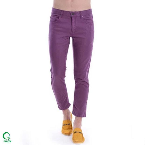 MPA021 Spandex Cotton Purple Thick Chino Men Slim Fit Pants