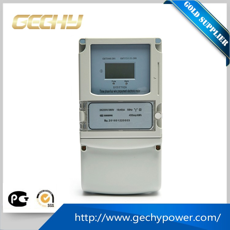 high quality three phase four wires LCD prepayment electricity energy power meter