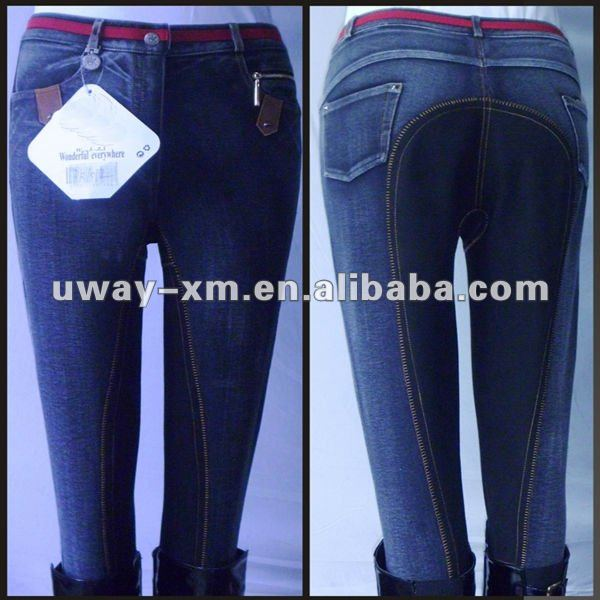 UW-AJ-006 Four way stretch fabric denim adult jodhpurs,size from XXS to 5XL