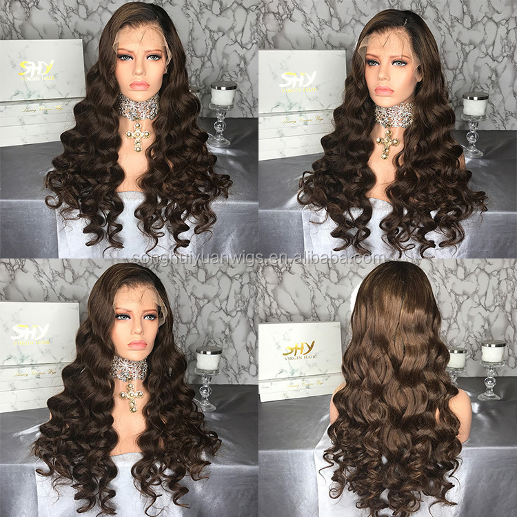 Top Sale Loose Wave Remy Brazilian 100% Human Hair Lace Front Wigs Natural Hair Bleached Knots