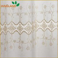South America style 100% polyester slub embroidery designer curtain fabric
