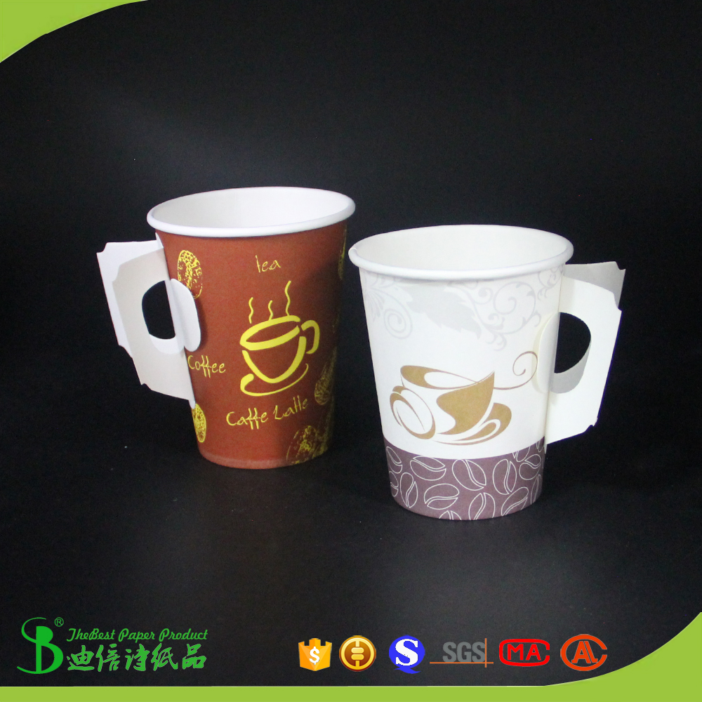TheBEST Disposable hot drink tea coffee paper cup with handle