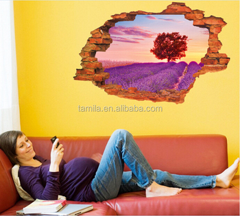 False window scenery lavender Multicolor choice removable DIY wall stickers