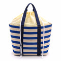 Custom promotional striped cotton canvas drawstring lunch cooler bag/durable big capacity picnic cooler bag