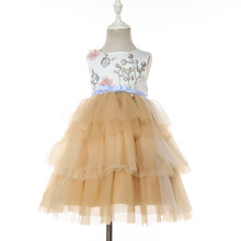 Summer Sleeveless Flower Embroideries Baby <strong>Girl's</strong> Party Tiered Tutu <strong>Dresses</strong> for Wholesale