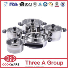 New style stainless steel cookware set with induction base for waterless cooking