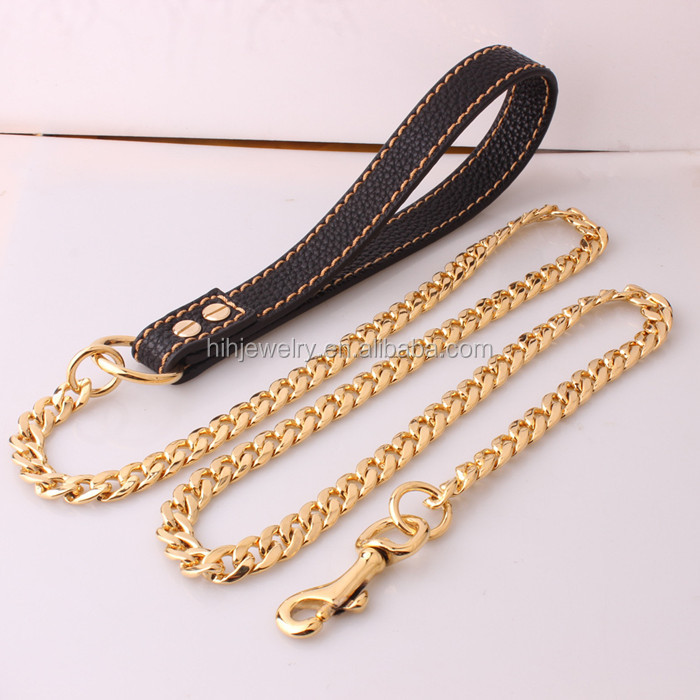 Pet Product Head Collar Leads Stainless Steel Gold Metal Chain Strong Medium Large Dog Leashes