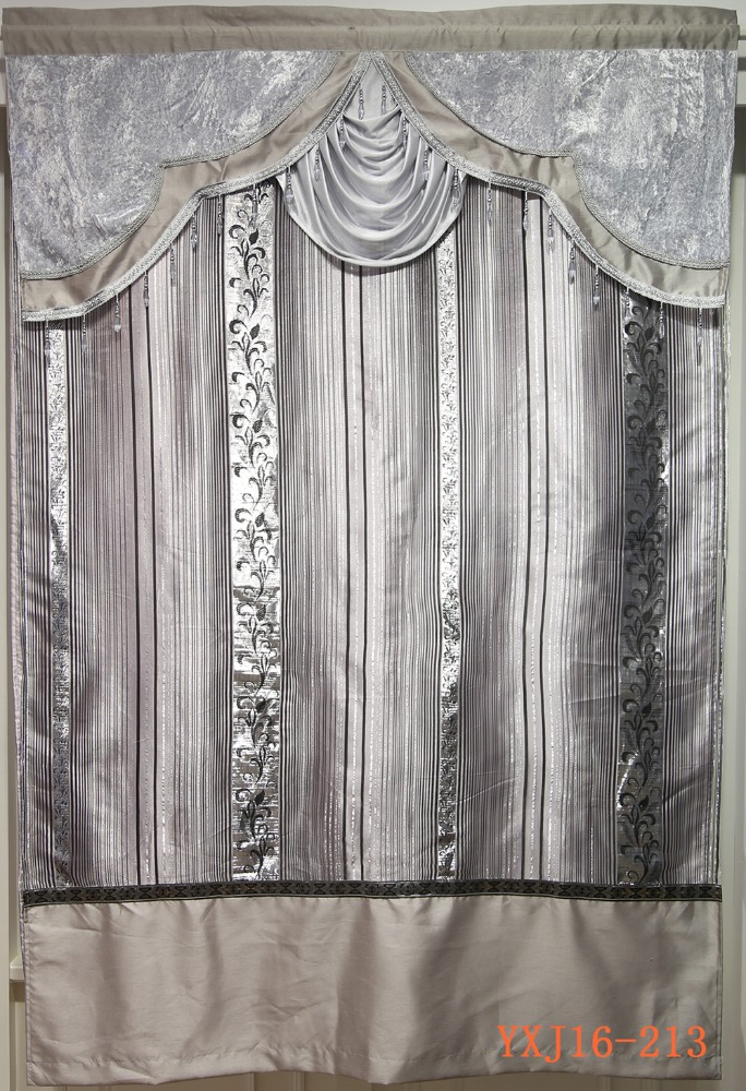 Hot selling beauty sliver valance sheer curtain for manufactured home