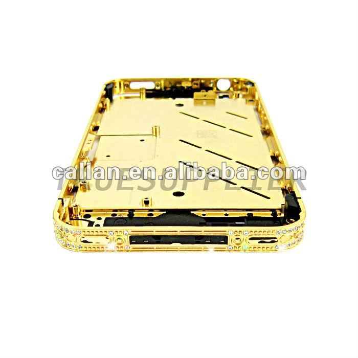 New arrival 24ct Gold Plated Luxurious Diamond Crystal Middle plate Bezel For IPhone 4 4S