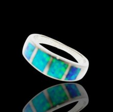 Customize Artifical Custome Dropshipping Square Opal 925 Sterling Silver Blue Fire Ring Jewelry Woman Accessories
