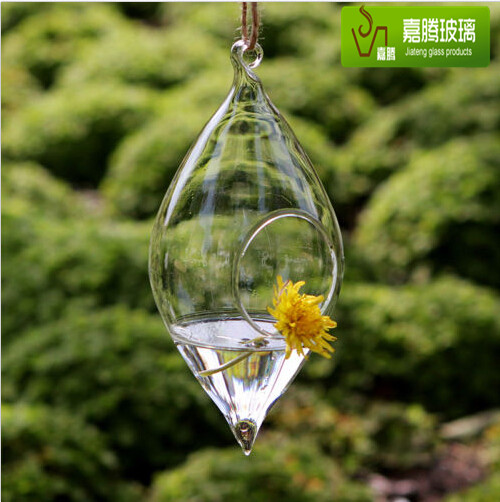 Teardrop crystal glass flower vase glass terrarium Hydroponics hanging Vase
