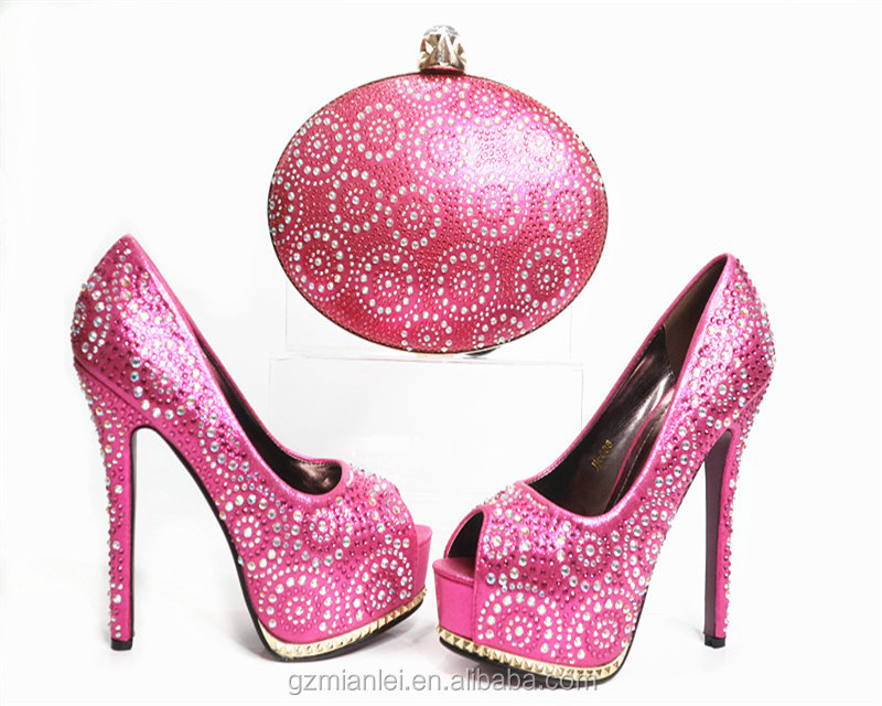 Italian women shoes and bags set wedding matching shoe and bags set designer high <strong>heel</strong> for girl G33