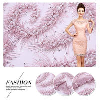 Embroidered fabric material for Wedding with Exquisite Sequin fabric material for making dresses