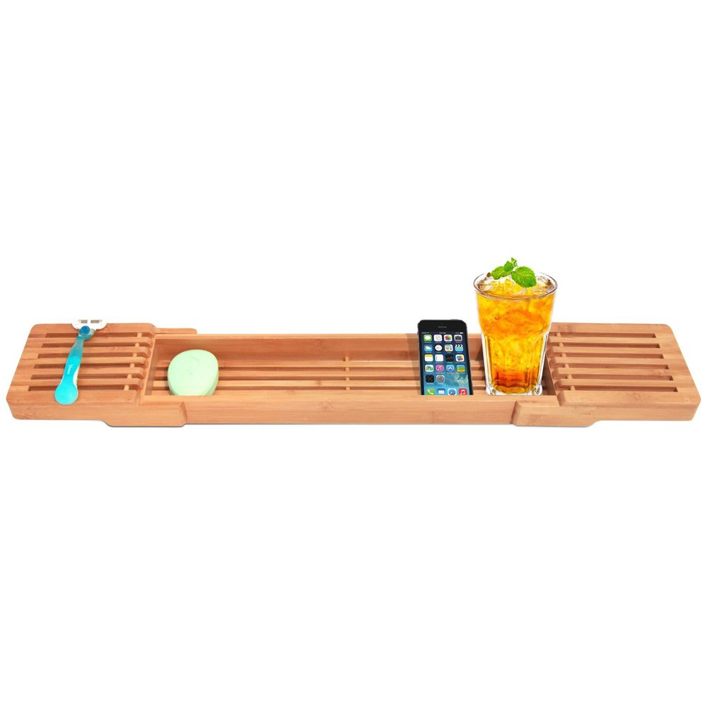 Bamboo Bathtub Tray Caddy With Extending Sides And