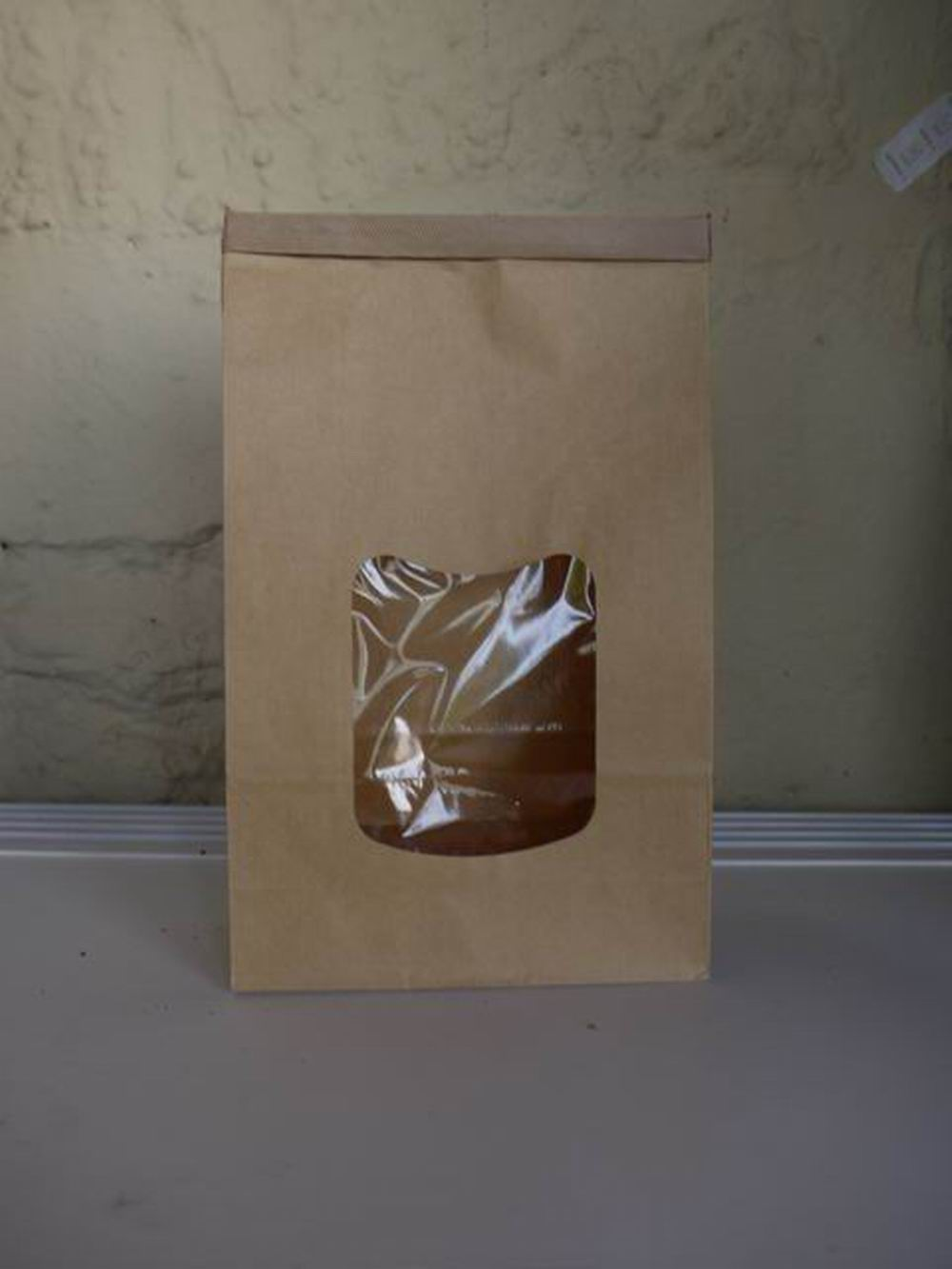 Clear Window bleached kraft paper Tin Tie bag with square bottom