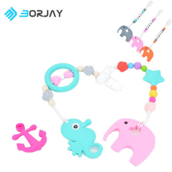 high quality soft FDA BPA silicone baby teether beads teething toys