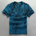 85% linen 15% cotton woven tie dye short sleeve V neck t shirt for men