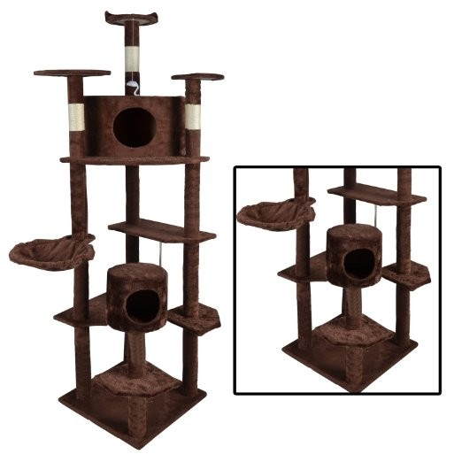 Beneve pet Cat Tree Condo Furniture Scratch Post Pet House, Brown, 80-Inch
