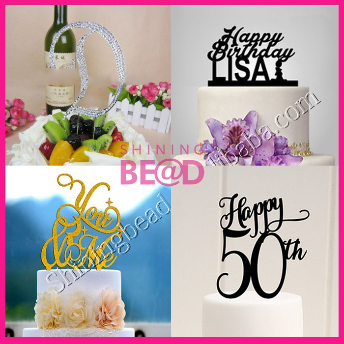 Factory Custom Crystal Rhinestone Shiny Letter Engagement Cake Topper For Wedding Cakes Decorations