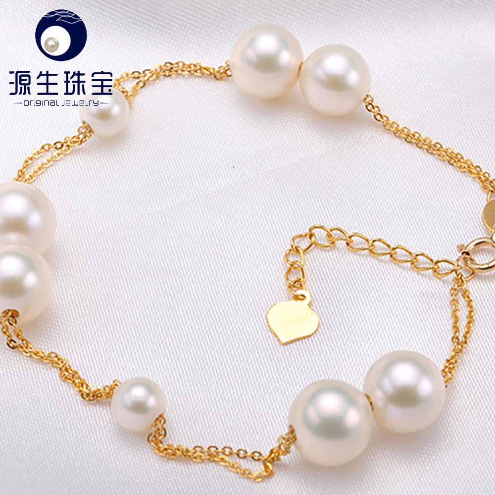 gold bangle bracelets akoya cultured pearls white/golden color perfect round shape 18cm