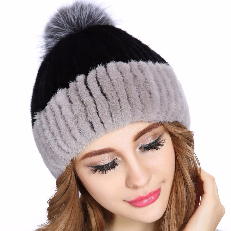 2017 New Fashion Ladies Knitted Real Mink Russian Fur Hat With Silver Fox Fur Ball Top