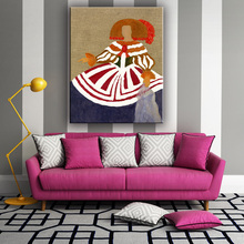 Beautiful modern abstract woman oil canvas art painting for home decorate