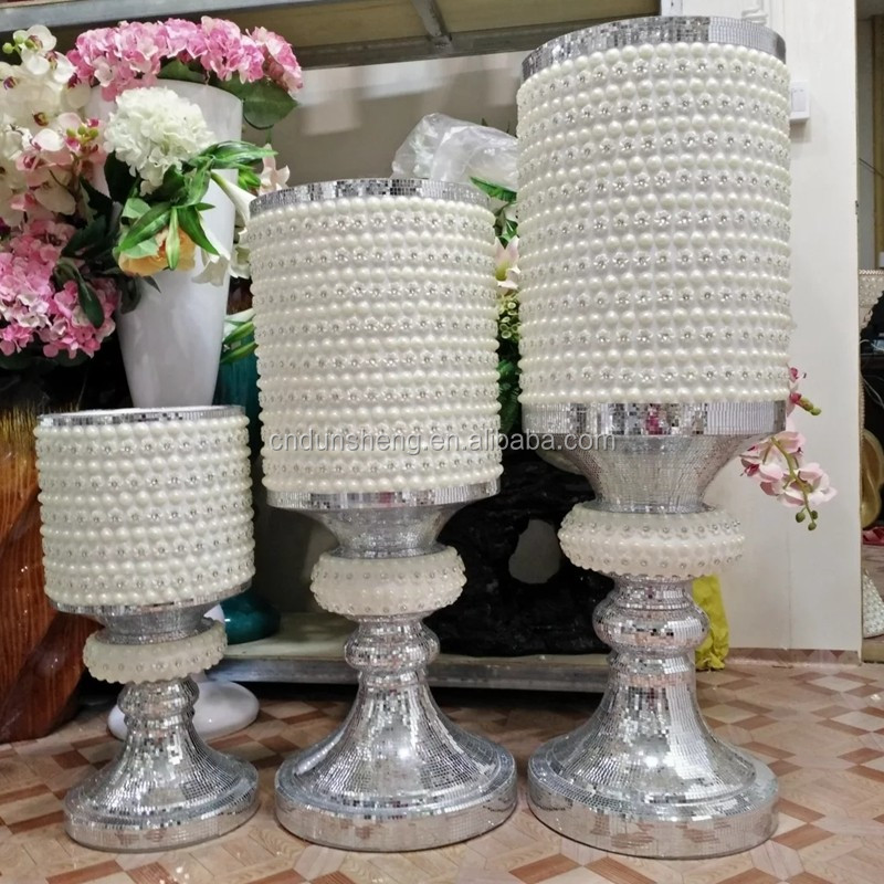 wholesale White Sparkle Mosaic Diamond Huge Stemmed Vase, Wedding Event Rental