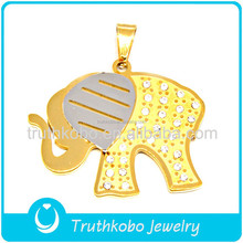 Animal design hot selling 316l gold stainless steel hot simple designs cute charms two tone crystal pendant in elephant shaped