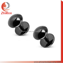 ZhiRen round shape head Black IP plated fake ear plug earring, ear piercing tunnel, ear expander