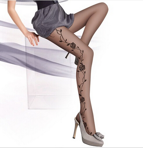 2017 New Women ladies Flower Jacquard Sex Soft Sheer Tube Pantyhose