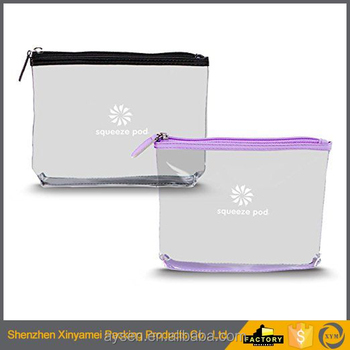custom made transparent clear vinyl pvc zipper toiletry cosmetic bag pouch case bags /cosmetic toilet bag with zipper for travel