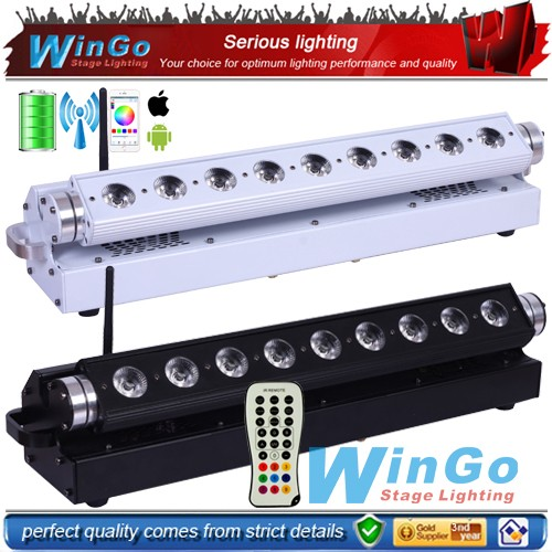 led bar light 9x18w RGBWA+UV 6in1 wireless DMX battery power wall washer led par