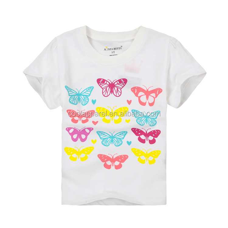 colourful butterfly print plain white dubai wholesale t-shirt for girls